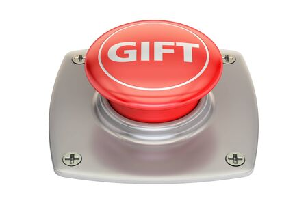 try: Gift Red Button, 3D rendering isolated on white background Stock Photo