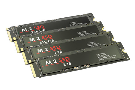 Group of M2 SSD, 3D rendering isolated on white background