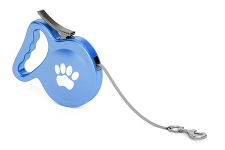 dog walking: Blue Automatic Retractable Traction Rope. Walking Lead Leash, 3D rendering
