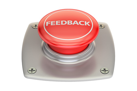 Feedback Red button, 3D rendering isolated on white background