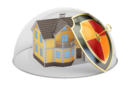 Home security and protection concept, house covered by glass dome. 3D rendering Stock Photo