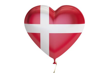 danish flag: balloon with Denmark flag in the shape of heart, 3D rendering isolated on white background Stock Photo