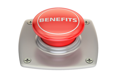 Benefits red button, 3D rendering isolated on white background