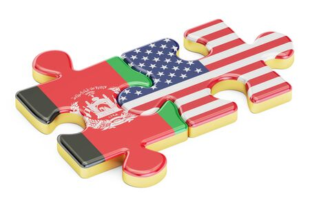 USA and Afghanistan puzzles from flags, 3D rendering isolated on white background