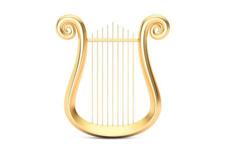 Golden Lyre, 3D rendering isolated on white background