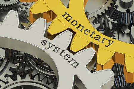 monetary concept: monetary system concept on the gearwheels, 3D rendering Stock Photo