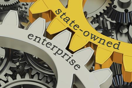 Staatsbedrijf SOE concept op de tandwielen, 3D-rendering Stockfoto