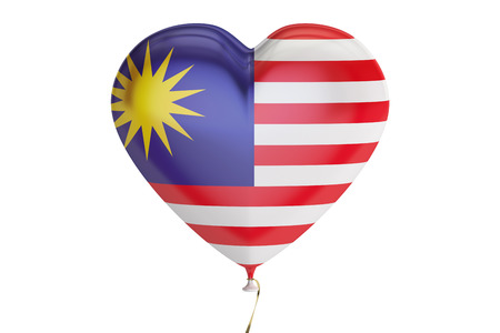 balloon with Malaysia flag in the shape of heart, 3D rendering isolated on white background Stock Photo