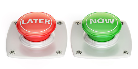 now and later push button, 3D rendering isolated on white background Stock Photo