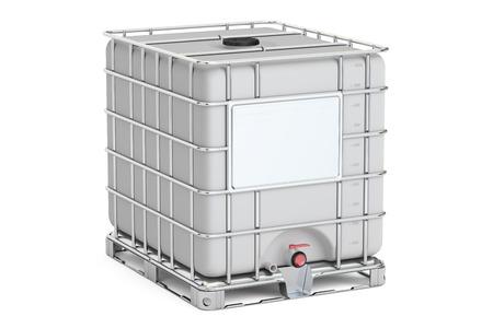 Intermediate Bulk Container Nahaufnahme, 3D-Rendering auf weißem Hintergrund Standard-Bild - 71262330