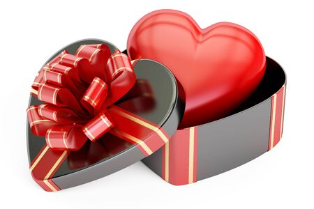 Valentines Day concept. Gift box with heart, 3D rendering isolated on white background