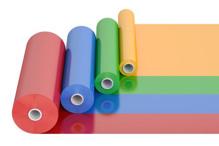 Farbe PVC Polythen Plastikband Rolls, 3D-Rendering isoliert auf weißem Hintergrund Standard-Bild - 71365044