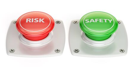 risk and safety push button, 3D rendering isolated on white background Stock Photo