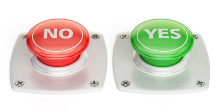 activate: yes and no push button, 3D rendering  isolated on white background