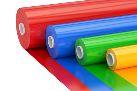 Multicolor PVC Polythene Plastic Tape Rolls, 3D rendering isolated on white background Standard-Bild