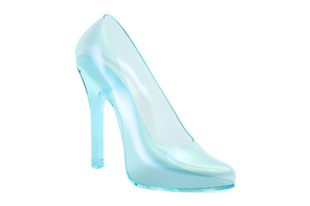 cutglass: crystal high heel, glass slipper. 3D rendering isolated on white background Stock Photo