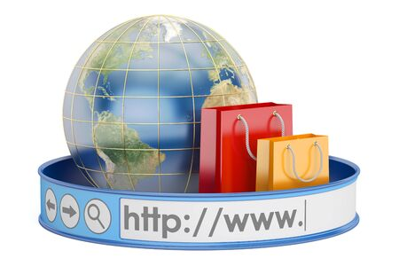worldwide e-shopping, online shopping concept. 3D rendering isolated on white background Stock Photo