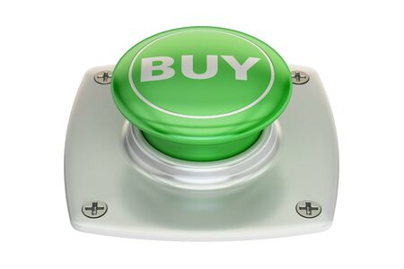 activate: Buy green button, 3D rendering isolated on white background