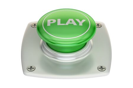 Play green button, 3D rendering isolated on white background Stock Photo