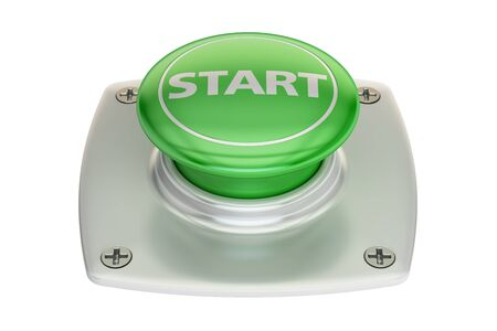 activate: Start green button, 3D rendering isolated on white background
