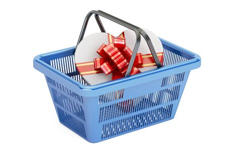 Valentines Day concept. Shopping basket with gift box, 3D rendering isolated on white background