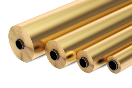 thermal: copper or bronze foil rolls, 3D rendering isolated on white background Stock Photo