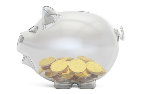 piggybank: glass piggy bank with golden coins, 3D rendering isolated on white background Stock Photo