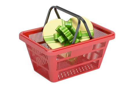 Valentines Day concept. Shopping basket with gift box in shape of heart, 3D rendering isolated on white background