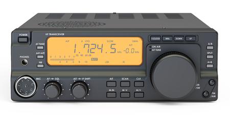 Amateur-Radio-Transceiver, 3D-Rendering auf weißem Hintergrund Standard-Bild