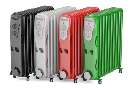 set of colored electric oil heaters, oil-filled radiators. 3D rendering isolated on white background