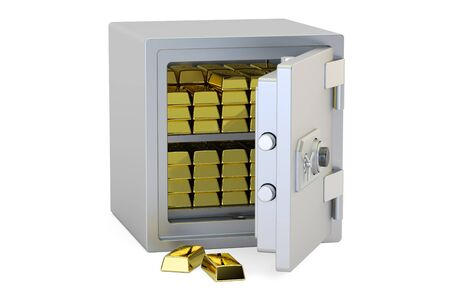 safest: Safe Box With Golden Ingots, 3D rendering isolated on white background
