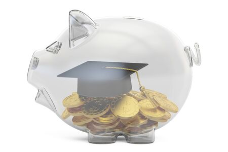 savings money for education concept, 3D rendering isolated on white background