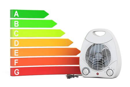 Saving energy consumption concept. Energy efficiency chart with fan heater, 3D rendering