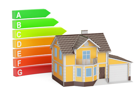 Energy efficiency chart with house. Saving energy consumption concept, 3D rendering Stock Photo