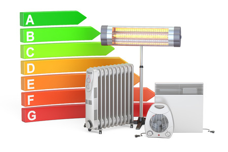 Saving energy consumption concept. Energy efficiency chart with different heaters, 3D rendering  isolated on white background Foto de archivo