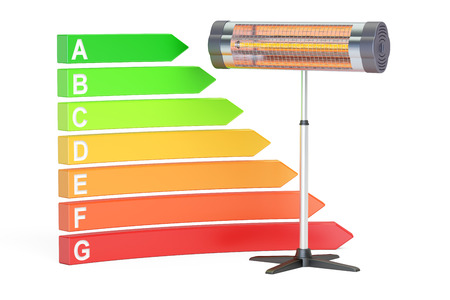 saving energy consumption with infrared heater concept, 3D rendering isolated on white background Stock Photo