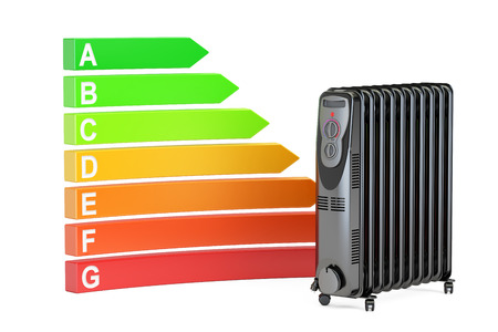 consumption: Saving energy consumption concept. Energy efficiency chart with oil heater, 3D rendering isolated on white background