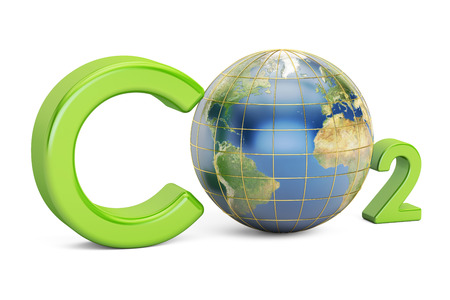 CO2 inscription with globe, pollution concept. 3D rendering isolated on white background