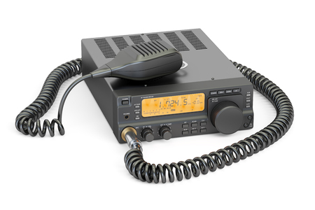 amateur radio transceiver with push-to-talk microphone switch, 3D rendering isolated on white background Stock Photo