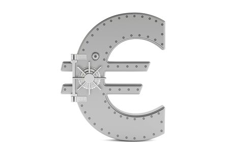 safest: combination safe box in shape of symbol euro, 3D rendering isolated on white background
