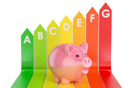 Energy efficiency chart with piggy bank, 3D rendering Stock Photo