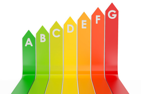 Energy efficiency chart, 3D rendering  isolated on white background