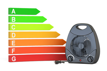 Saving energy consumption concept. Energy efficiency chart with black fan heater, 3D rendering