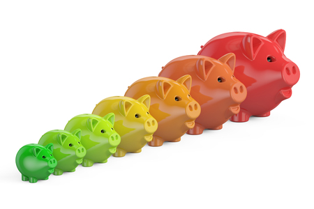 Energy efficiency chart from piggy banks, 3D rendering isolated on white background