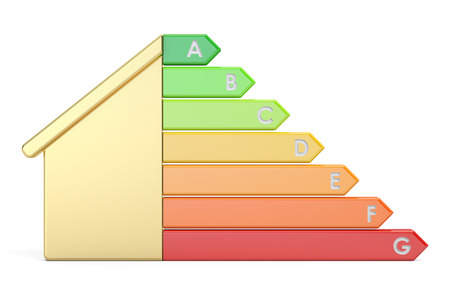 Energy efficiency graph with house, 3D rendering isolated on white background