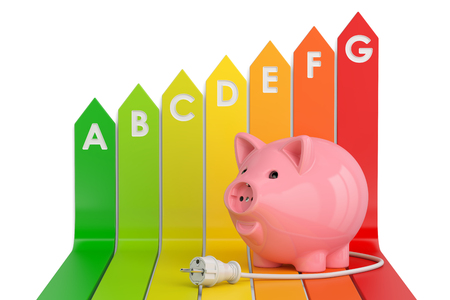 Energy efficiency chart with piggy bank. Saving energy consumption concept, 3D rendering isolated on white background Stock Photo