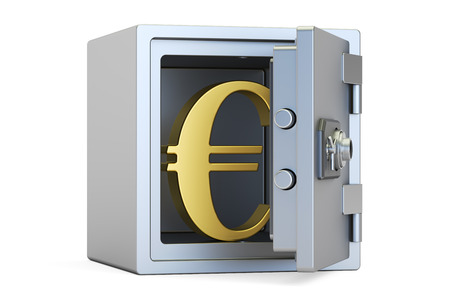 safest: combination safe box with symbol of euro, 3D rendering isolated on white background