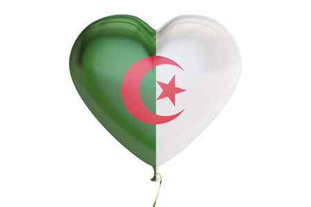 balloon with Algeria flag in the shape of heart, 3D rendering isolated on white background