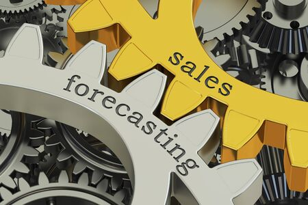 estimating: sales forecasting concept on the gears, 3D rendering