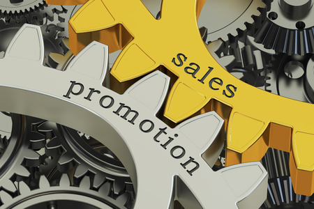 stimulate: sales promotion concept on the gears, 3D rendering Stock Photo